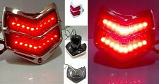 1940 Ford Car LED Pair Turn Brake Tail Lights Stainless Steel Rim Black Housing