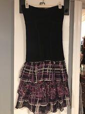 BEBE Sz S Black Purple Stretch Tiered Strapless Dress Women's