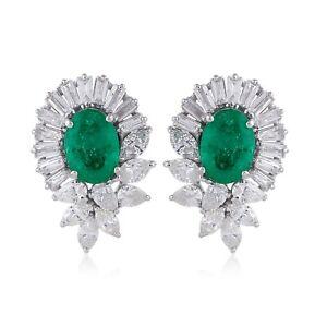 Oval Smaragd Edelstein Ohrstecker Baguette Birne Diamant 18k Weiss Gold