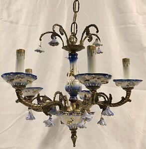 Vintage Spain 5 Arm Light Brass Porcelain Floral Chandelier