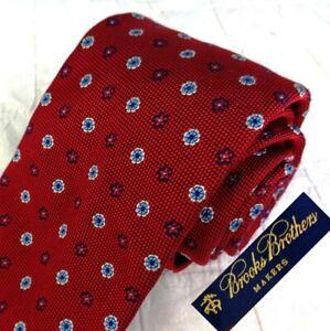 BROOKS BROTHERS Made Brooklyn Blood Red Grenadine Silk Tie Blue Silver Medallion