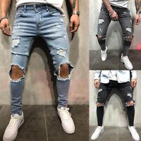 Mens Skinny Jeans Biker Destroyed Frayed Slim Fit Denim Ripped Pants Trousers*Y