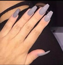 Set Of Painted gray Glossy Long Coffin False Nails