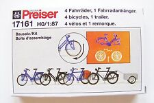 HO Preiser 17161 FOUR Bicycle and ONE Bike Trailer : Model Detail KIT