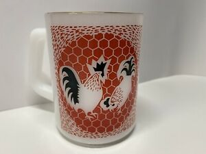 Vintage Federal Glass Rooster Chicken Mug D Handle Coffee Cup Red Heat Proof