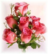 84 Burgundy Roses Bud Wedding Bouquet Silk Flowers