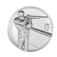 Metallemblem Gewehrschütze stehend Ø50mm Abzeichen Reliefemblem | Pokale Meier
