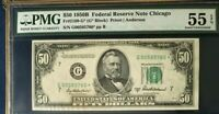 1950B $50 PMG55 EPQ ABOUT UNCIRCULATED, * STAR *,  FEDERAL RESERVE NOTE CHICAGO