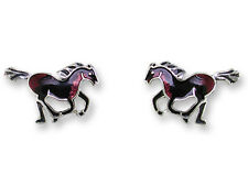 Zarah Zarlite STALLION HORSE Post EARRINGS Sterling Silver Plated Studs - Boxed