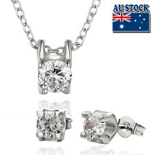18K White Gold Filled Earrings and Necklace Set With Big Clear SWAROVSKI Crystal