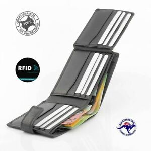 Genuine Men's Soft Leather RFID Protected Large Wallet Black 13 Card Slots New
