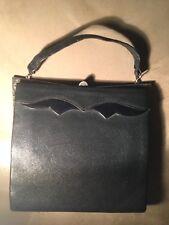 1930s  Original Vintage Dark Navy  Leather  Handbag with a silver clasp