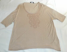 "DOROTHY PERKINS BEIGE ROSE GOLD STUDS T SHIRT STYLE UK 22 EUR 50 CHEST 52"" 132cm"