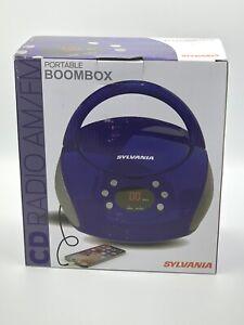SYLVANIA Portable CD Player w/ AM/FM Radio Boombox stereo PURPLE CD-R AC/DC -NIB
