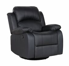 Bonded Leather Chair Rocker and Swivel Recliner Living Room Chair Reclining, Blk