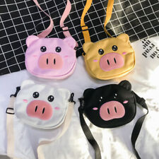Girls Canvas Cute Pig Shoulder Bag Casual Crossbody Handbag Purse