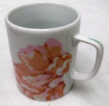 "DESHOULIERES, PHILIPPE Limoges china FLEURS Mug with Green Stripe Handle 3-5/8"""