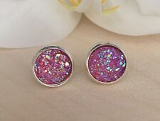 12mm Sparkly Pink  Round Druzy Earrings Studs Bridesmaid GIFT Jewellery Birthday