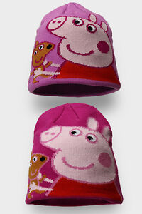GIRLS PEPPA PIG WINTER DOUBLE LAYERED KNITTED BEANIE HAT  APPROX 2-8 YEARS
