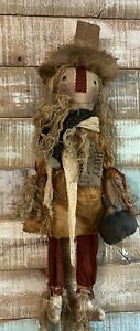 "Primitive Grungy Scarecrow Doll with pumpkin Farmhouse FAll Halloween 32"""
