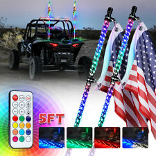 Xprite 2x 5ft Multicolor Led Spiral Lighted Whip Antenna w/ Flag Remote Control