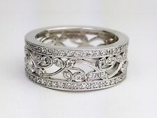 Wide Eternity Band Right Hand Ring 14K White Gold Round Diamond Floral Design