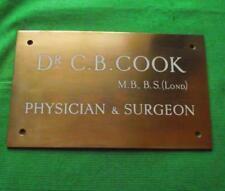 More details for c1930  brass bronze dr cook london surgeon antique sign plaque 10