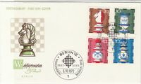 Germany 1972 Berlin Slogan Cancel Chess FDC Multiple Stamps Cover Ref 24279