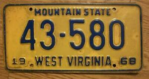 SINGLE WEST VIRGINIA LICENSE PLATE - 1968 - 43-580 - MOUNTAIN STATE