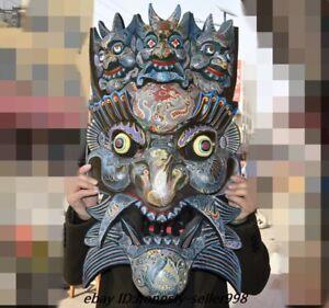 "26"" Rare Huge Old Tibet Temple Wood Painted Mahakala Tantra Buddha Mask Statue"