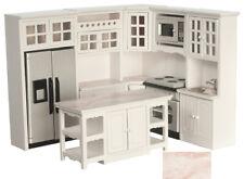 Dollhouse Miniature Kitchen Set of 8 White and Marble