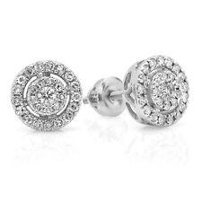 0.40 CT 18K White Gold Real Round Diamond Ladies Flower Cluster Stud Earrings