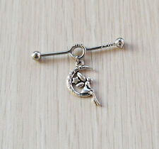 2pcs Industrial Barbell With Fairy on a Moon Charm Body Jewelry Upper Ear