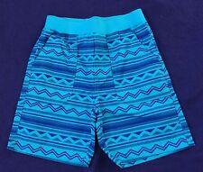 NWOT KIDS KORNER blue/purple geo zig zag print faux fly shorts, girl size M 5/6