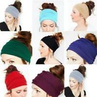 Women Elastic Stretch Wide Hairband Yoga Sport Headband Turban Running Head Wrap