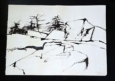 "1964 Maine Pen & Ink Painting ""Rocks & Pines"" by Reuben Tam (1916-1991)(Ols)"