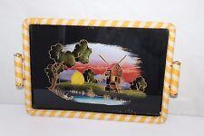 Superbe plateau vintage peinture fixé sous verre et scoubidou 43 cm x 29 cm