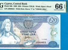 CYPRUS-SCARCE 20 POUNDS-1993-PICK 56b **PMG 66 EPQ GEM UNC**DON'T MISS**