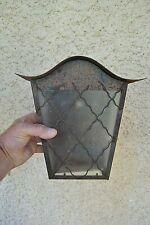 Applique murale ancienne d'extérieur, lanterne métal et verre (Ferronnerie)