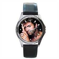 George Michael Leather Watch Silver Steel Case English Singer-songwriter Image