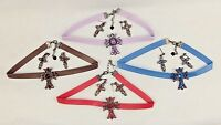 Faux Leather & Gemstone Choker w/Cross Pendant And Earrings ~ 4 Sets / 4 Colors