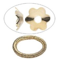 7255JW Gold ptd Steel Bead Cap Cup Flower, 7mm for 8 -10mm Beads,  100 Qty