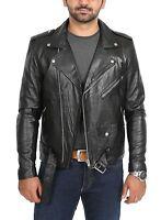 NooraMen's Genuine Leather Jacket Black Designer fit Biker Motorcycle jacket MJ2
