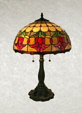 """Beautiful Tiffany Lamp With an Open Rose Design in Yellow,Orange Multicolors 16"""""""