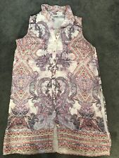 River Island Silk Feel Paisley Longline Sleeveless Side Slit Tunic Shirt Size 10