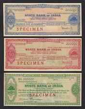 State Bank of India SPECIMEN Travellers cheques (3)