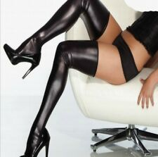 SEXY BLACK STOCKINGS & BRIEF HOLD UPS PVC WET LOOK FAUX LEATHER SHINY THIGH HIGH