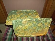 INCREDIBLE VINTAGE METAL TV TRAYS (2) LUNCH ACTIVITY CRAFT W/ FOLDING METAL LEGS