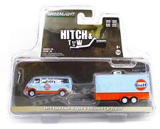 1:64 GreenLight *HITCH & TOW 20* 1972 Ford CLUB WAGON GULF Enclosed Trailer NIP