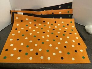 Crate & Barrel Halloween Reversible Polka Dot Placemats Set Of 4 NEW
